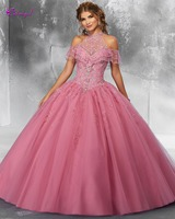 3f00ed5a3 ... Vestido Debutante. Detmgel Sweet 16 Dresses For 15 Years Ball Gown  Quinceanera Dresses 2019 Romantic Halter Neck Appliques