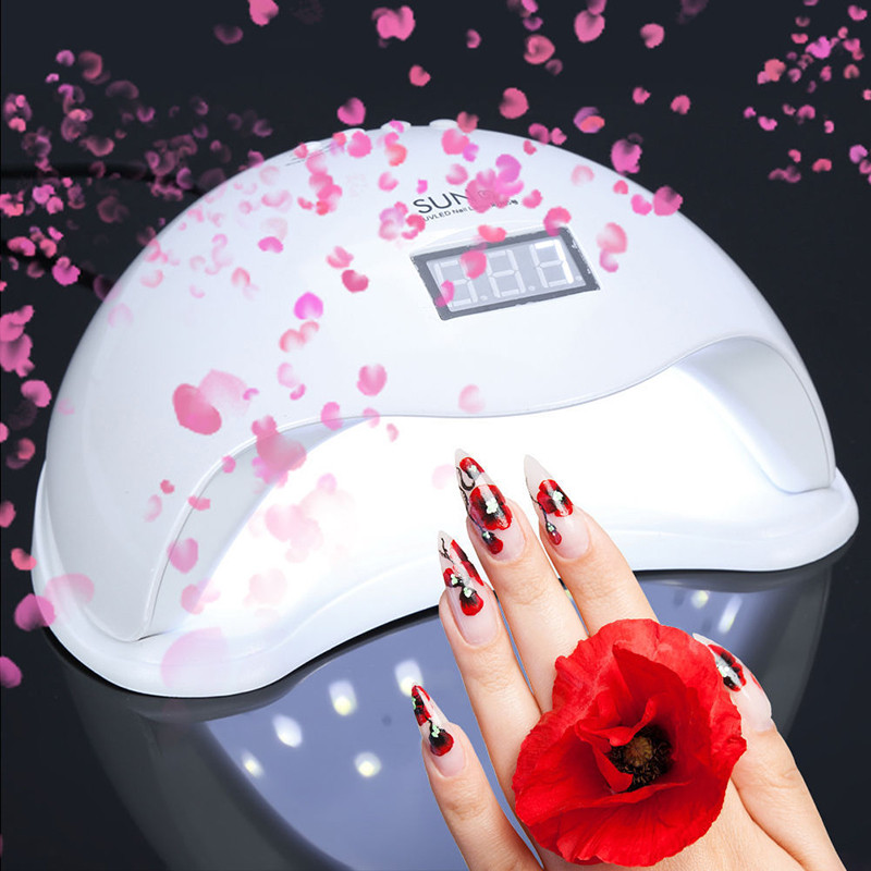 1 Set 48W LED Nail Lamp Light Gel Nail Dryer Sun Light Lamp with EU / US Plug Phototherapy Manicure Machine Lamp for Nail Dryer portable 18w led uv light phototherapy lamp quick nail gel dryer light pink 2 round pin plug