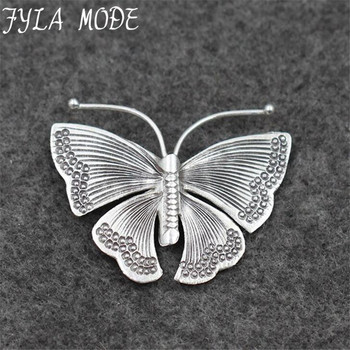 Fyla Mode 925 Sterling Silver Butterfly Pendant for Women Lady Chain Necklace Fashion Antique Thai Jewelry PKY162