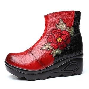 Image 4 - Xiuteng bottines dhiver pour femmes, chaussures avec broderie, talons plats occidentaux à plateforme, tailles 35 40, nouvelle collection 2020