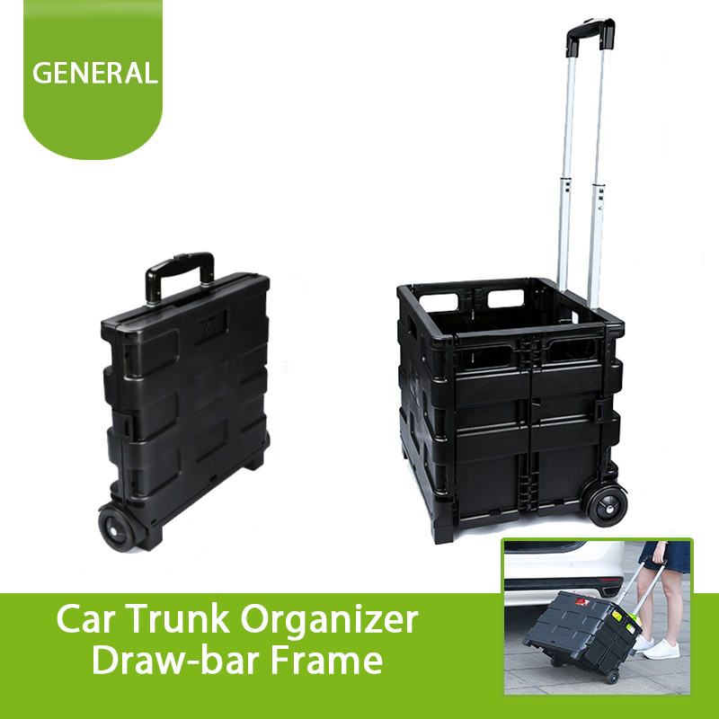 Car Trunk Cargo Organizer Two Wheeled Rolling Crate Cart Folding Hand Utility Cart Collapsible Handcart Portable