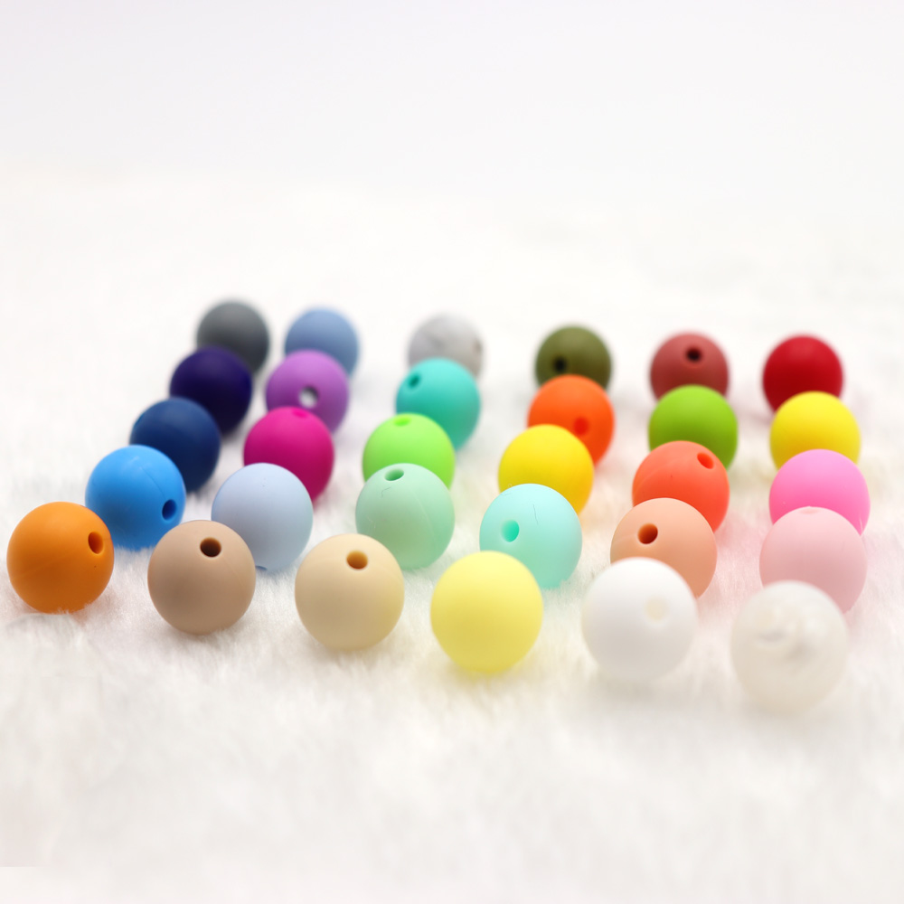 10pcs Silicone Teething Beads Round 15mm For Necklace Chews Pacifier Chain Clips Beads Soft Texture Silicone Freeship