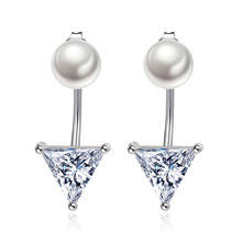 цены 100% 925 sterling silver fashion imitation pearl shiny crystal ladies`stud earrings women jewelry female birthday gift cheap