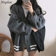 5c3f44d692 Neploe Preppy Style Stripe Sweater Cardigan Women Clothes Autumn Winter  Korean Oversized Knit Coat Single Breasted