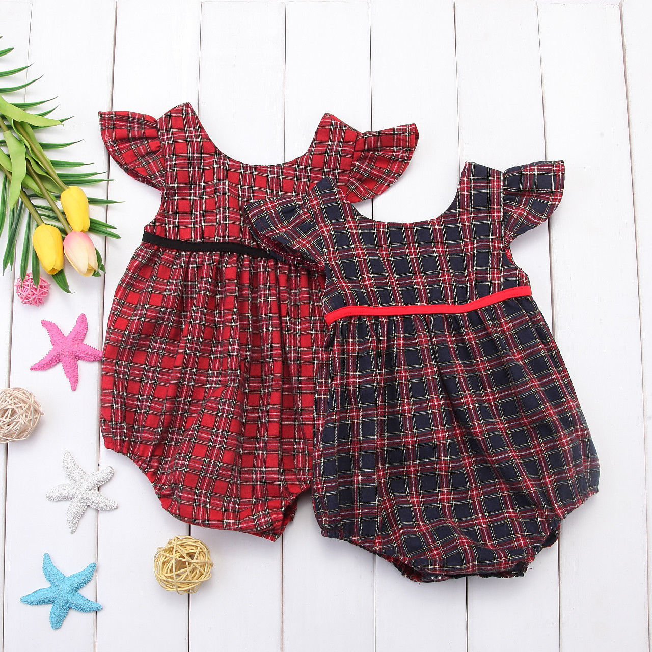 Newborn Baby Girl Plaid Romper Summer Corset Red Blue Plaid Romper Jumpsuit Cotton suit Outfits Summer plaid