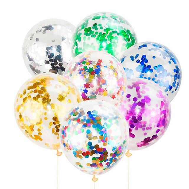 Globos de confeti de oro de 5 piezas globos de látex de helio hinchables para fiesta de cumpleaños de boda