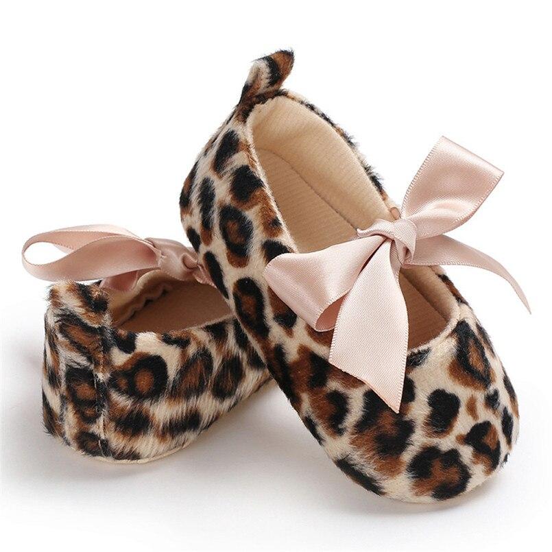 Baby Shoes Anti-Slip Toddler Leopard Newborn Girl Tie Cute Summer Print Soft -4j02