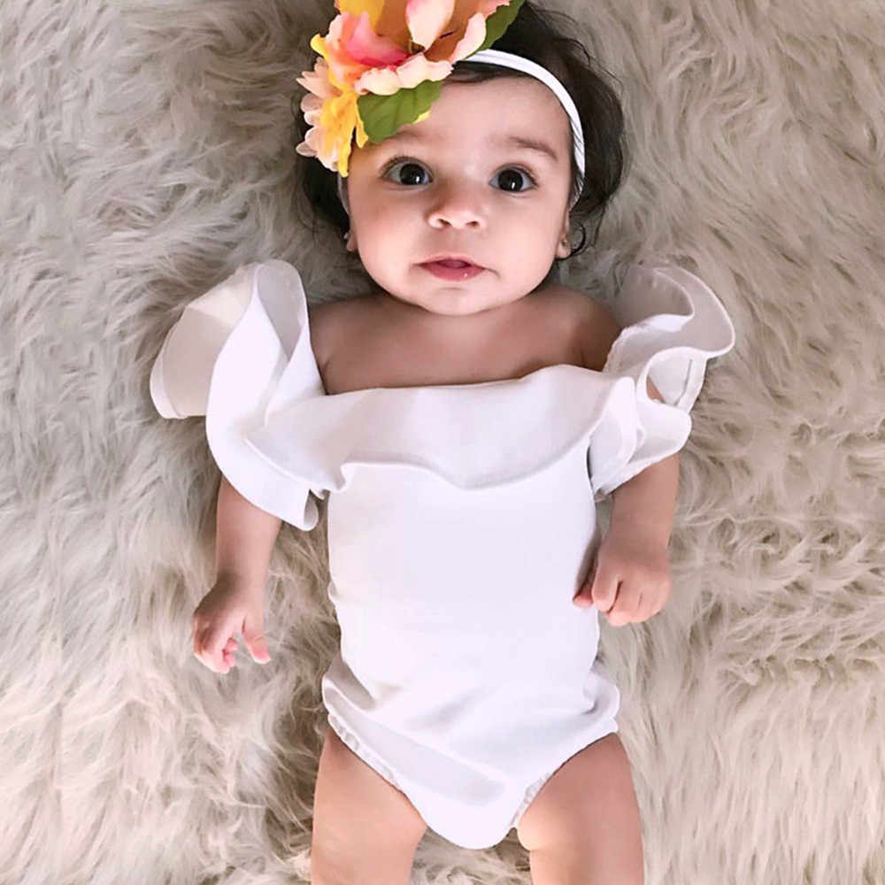 Summer Cotton Newborn Infant Baby Girls Ruffles Sleeve Romper Solid Playsuit Clothes Outfits For 0-24 Month Clothing 15