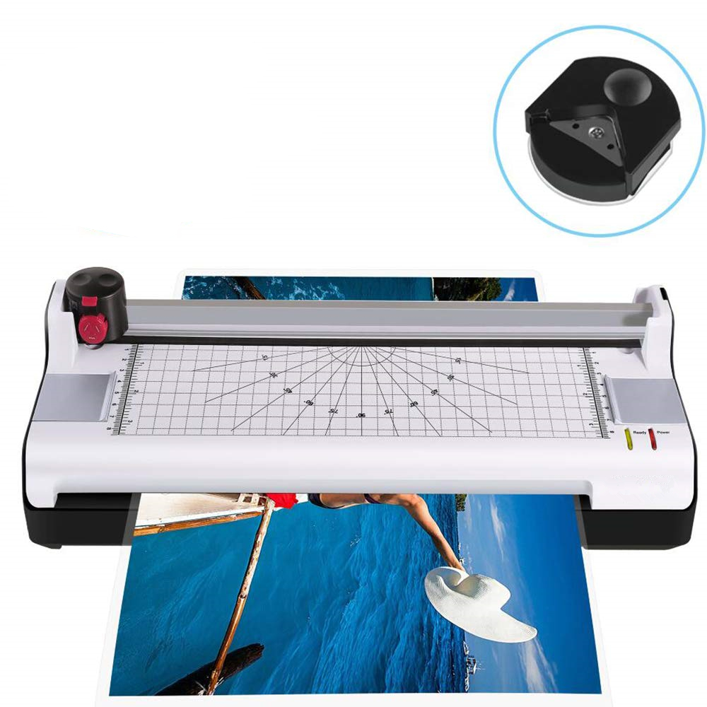 Thermal Laminator For A3/A4/A6, 2 Roller System Laminating Machine With Trimmer And Corner Rounder Fast Warm-up For Home Office