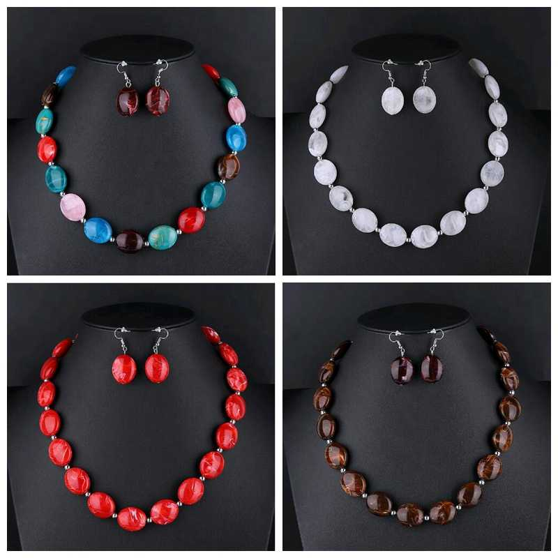 Indian Color Beads Jewelry Sets For Women African Statement Choker Necklace And Earrings Set Fashion Jewellery