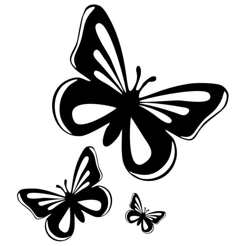 15,2*17 см красивые бабочки, модные виниловые автомобильные наклейки, животные, Стильные наклейки для автомобиля, черный/серебристый цвет
