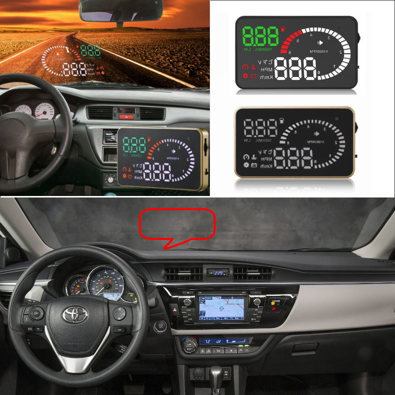 Liislee Car HUD Head Up Display For Toyota Corolla RAV4 Yaris Hilux Prius Camry - Safe Screen Projector / OBD II Connector цена 2017