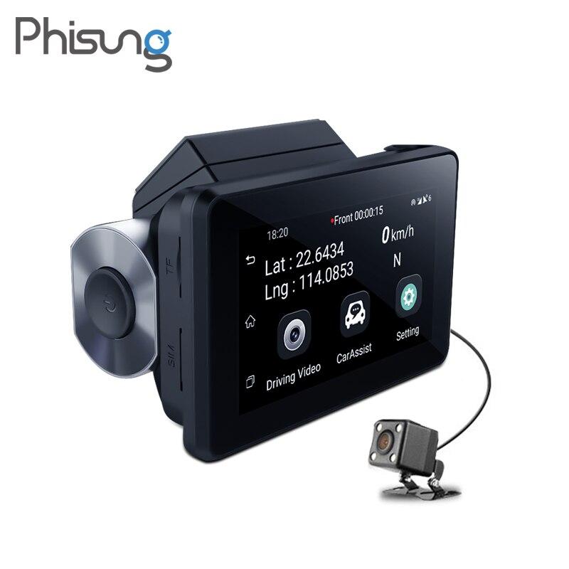Phisung K9 traço cam pro 3G log de Lente Dupla Do Carro DVR com GPS Android 1080 p traço câmera WI-FI secretário de Vídeo cam carro gravador de disco