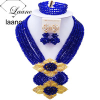Laanc Fashion Royal Blue African Necklace Jewelry Set Nigerian Beads Bridal Party Jewelry Sets 6CHLK021
