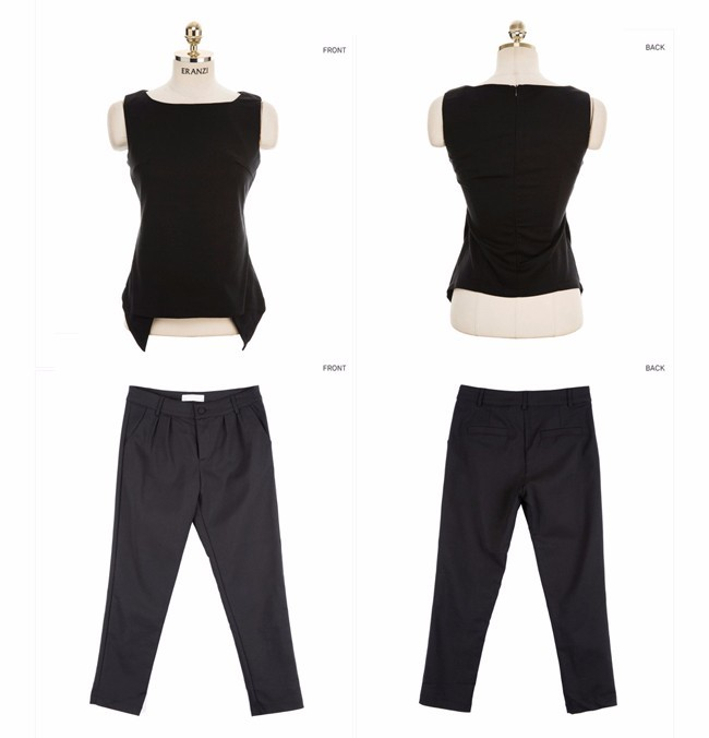 women pant suit Sleevless Shirt and Cropped Pants (7)