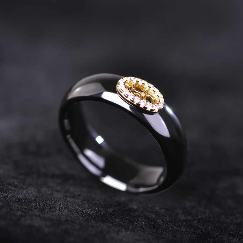 Blucome สีดำเซรามิคต่างหูแหวนทองสีเจ้าหญิงตะขอต่างหู Full Zircons การตั้งค่า Rhinestone ชุดเครื่องประดับ