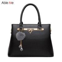 European Stylish Women Leather Handbags Business OL Bag Fashion Shoulder Bag Hair Ball Female Totes Simple
