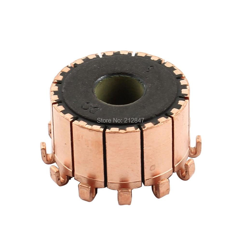 10 mm dia-as 12 tanden koperen schaal gemonteerd op elektrische motoranker commutator