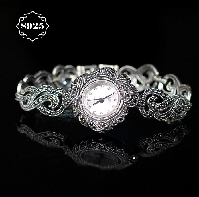 New Limited Classic Elegant S925 Silver Pure Thai Silver Flower Bracelet Watches Thailand Process Rhinestone Bangle Dresswatch