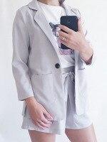 Cotton Linen Summer Suit Female 2 Pieces Set Tracksuit for Women Loose Blazer & Bow Elastic Waist Short Pant Suits