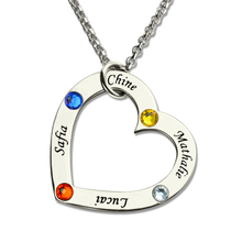 AILIN Engraved Birthstone Heart Necklace in Silver Children Names Mother Necklace Family in Your Heart Jewelry for Mom