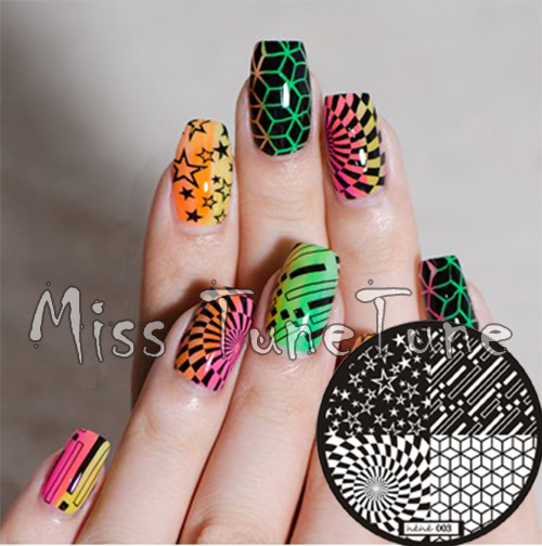 New Stamping Plate Hehe03 Psychedelic Designs Nail Art Stamp