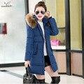 2016 Зимнее Пальто Куртка Женщин Корейской Выращивания Вниз Длинные Большой Воротник Капюшоном Проложенный