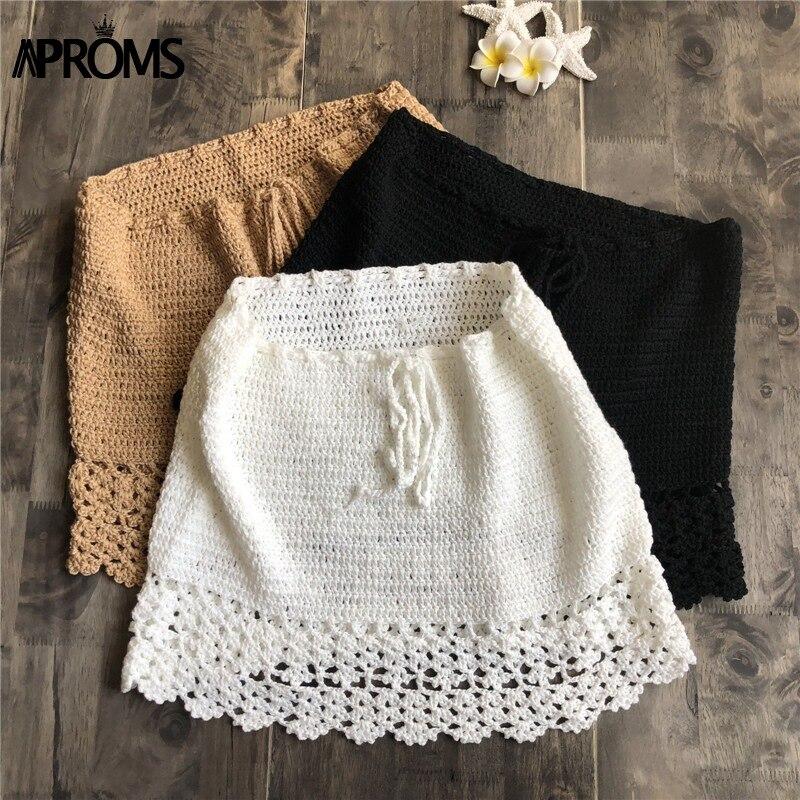 Elegant Handmade Cotton Crochet Mini Skirts Women Summer High Waist Bow Tie Skirt Ladies Beach Bikini Bottoms Saias 2019 New