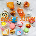 squishies wholesale 10pcs mixed kawaii squishy lot bun bread donut cake kitty squishy charm strap for mobile phone Free Shipping
