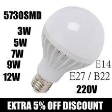 цена на Wholesale 5730 SMD led Bulb 220V B22 LED lamp E27 3W 5W 7W 9W 12W Chandelier LEDs Candle light Spotlight Lampada Bombillas