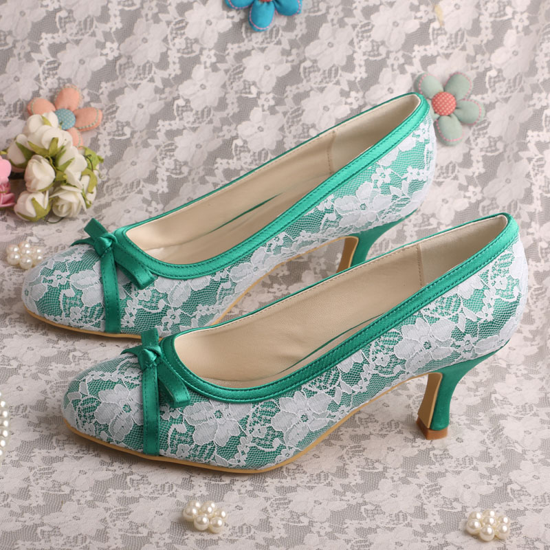 Wedopus Mid Heel Mint Green Closed Toe Women Wedding Shoes Bowtie Party  Prom Pumps -in Women s Pumps from Shoes on Aliexpress.com  3c70a479ac66