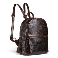 Genuine Cowhide Leather Women S Backpack Small Mini Shoulder Sling Bag Casual Tote Pouch For Girl