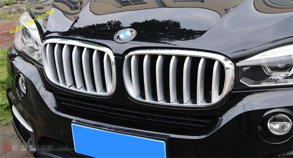 2 Choice For BMW X5 F15 2014 - 2017 / X6 F16 2015 - 2018 Front Grille Grill Molding Garnish Cover Trim A Set accessories for bmw x5 f15 2014 2016 x6 f16 2014 2017 abs rear armrest box decoration molding cover trim 2 pcs set