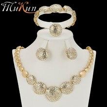 MuKun nigerian beads necklace jewelry set for weddings trendy jewelry necklace set for women gold  indian jewelry sets bridal wonderful orange bridal beads indian african costume jewelry set nigerian wedding necklace for women wdk 017