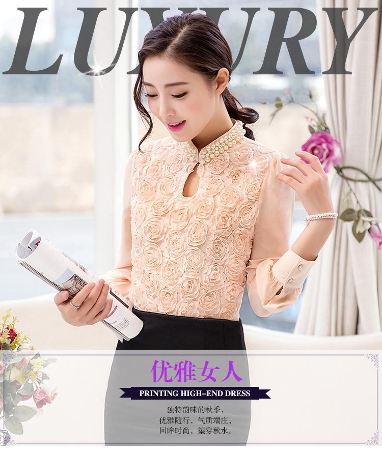 HTB1Z.v LFXXXXXgXVXXq6xXFXXX5 - New Women Chiffon blouse Flower long sleeved Casual shirt