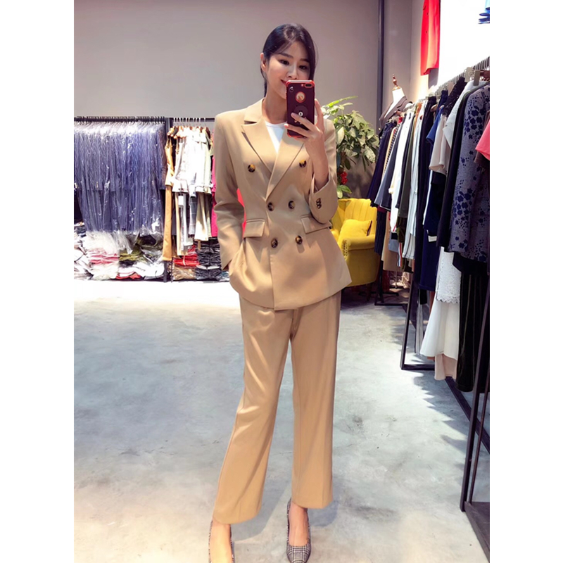 Cheap Price 2019 Fashion Womens Suit Autumn And Winter New Slim Temperament Double-breasted Small Suit Jacket Straight Pants Ladies Suit Pant Suits