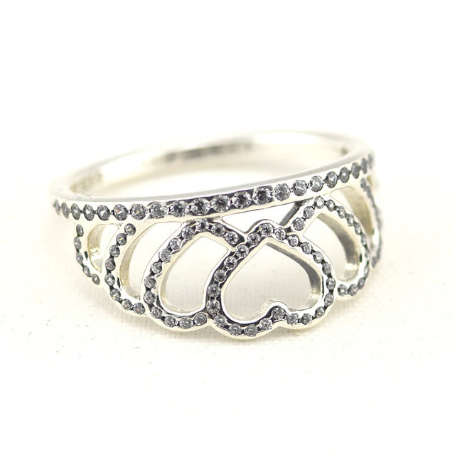 925 Sterling Silver Clear CZ Hearts Crown Silver Rings Women Fits