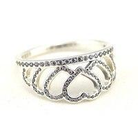 925 Sterling Silver Clear CZ Harten Kroon Zilveren Ringen Vrouwen Past Europese Sieraden DIY Sieraden Maken Sterling Zilveren Sieraden