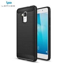 Huawei Onur Için LEPHEE 5C Vaka Huawei Honor 7 lite Silikon TPU Huawei GT3 için Fırçalanmış Doku Karbon Fiber Telefon Kapak Kılı...