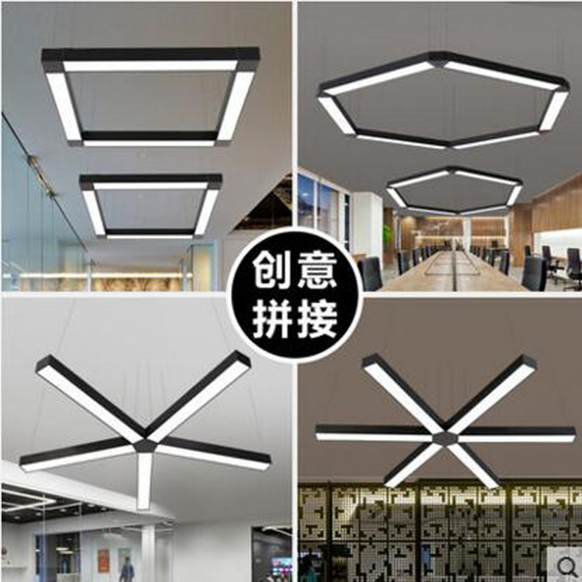 office chandeliers beautiful led office chandeliers strip lights rectangular studio supermarkets shops internet cafes industrial style led light