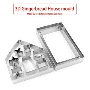 Image 2 - Conjunto de cortadores de galletas 3D de acero inoxidable para Navidad, molde para galletas, galletas, Fondant para casa, herramienta para hornear y cortar, 10 Uds.