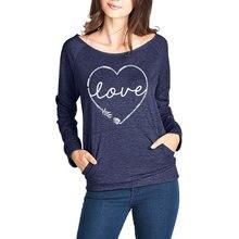 New Women Autumn O-neck Pockets T-shirts Top Womens Fashion Letter Tshirt Tops Long Sleeve Love Heart Printed Tee Shirt