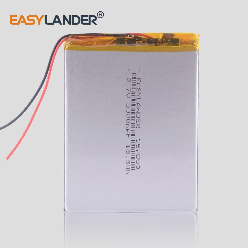 357090 3.7 V 5000 mAh Recarregável Li-Polímero Bateria Li-ion Para 7