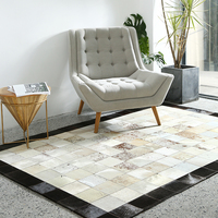 handmade new style luxury cowhide seamed rug modern natrual milch cowskin Patchwork carpet for living room bedroom decoration