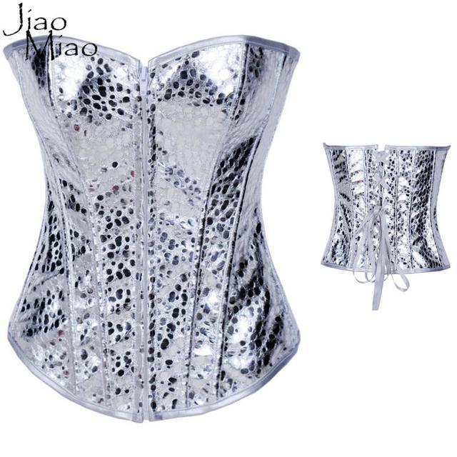 Jiao Miao New Sexy Desossado Espartilho De Couro Gótico Corselet Zipper Sliver Steampunk Bustier Slimming Body Shaper Tops Roupas