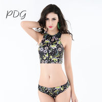 Hot Bikinis Set Floral 2017 Sexy Floral Biquini Thong Zipper High Neck Swim Bathing Suit Two