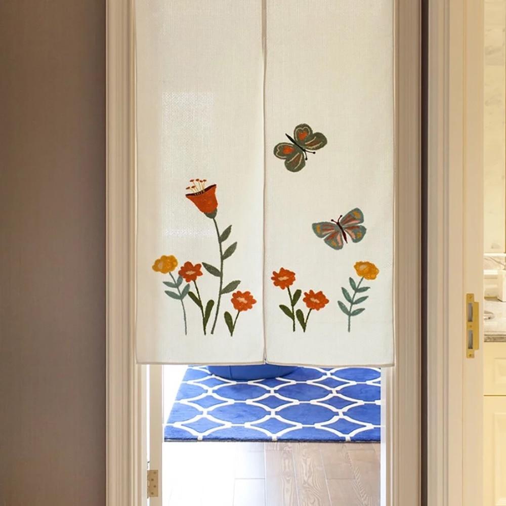 SewCrane Butterfly And Flowers Embroidery Design Japanese Noren Home  Restaurant Door Curtain Noren Doorway Room Divider In Door U0026 Window Screens  From Home ...