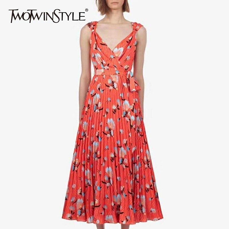 TWOTWINSTYLE Print Women Dress V Neck Sleeveless High Waist Bandage Slim Midi Pleated Dresses Female Summer
