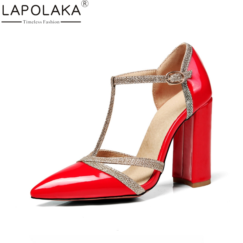 LAPOLAKA Womens Glitter Cloth T-strap Chunky High Heel Shoes Woman Buckle Up Summer Party Wedding Sandalss Big Size 34-47