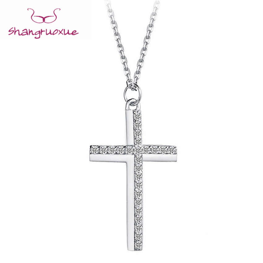Cross Choker Necklace Real 925 Sterling Silver Pendant Female Jewelry Statement Long Necklace Gifts For The New Year
